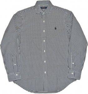 POLO RALPH LAUREN  長袖ギンガムチェックシャツ - ホワイト x ブラック