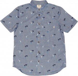 VANS フラミンゴ柄 オックスフォード半袖シャツ -ブルー