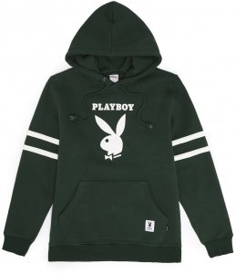 <img class='new_mark_img1' src='//img.shop-pro.jp/img/new/icons5.gif' style='border:none;display:inline;margin:0px;padding:0px;width:auto;' />Good Worth & Co X Playboy  Football Hoodie -フォレスト グリーン