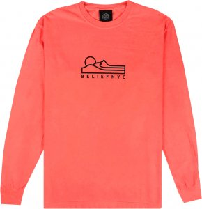 Belief NYC Terrain Long Sleeve Tee -ネオンレッドオレンジ