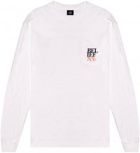 Belief NYC Stacked Long Sleeve Pocket Tee -ホワイト