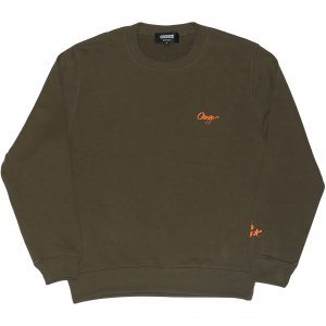 <img class='new_mark_img1' src='https://img.shop-pro.jp/img/new/icons1.gif' style='border:none;display:inline;margin:0px;padding:0px;width:auto;' />CROOZE Script Logo Crewneck -オリーブ