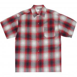 CalTop Flannel PLAID S/S Shirt -レッド・ホワイト
