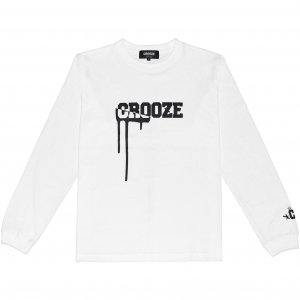 CROOZE Drip Logo Long Sleeve Tee -ホワイト