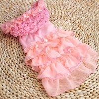 【OUTLET】メニーローズふわふわワンピ ピンク XSサイズ PETCO