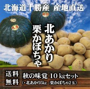 【送料無料】秋の味覚 北海道十勝産 栗かぼちゃ2玉・北あかり5�セット