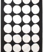 キヴェット(Kivet)ホワイト/ブラック コットンファブリック (62cm) マリメッコ(marimekko)