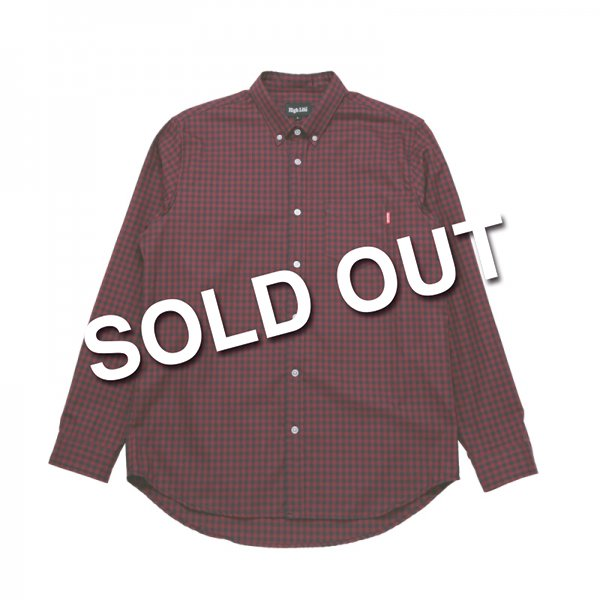 HighLife / Premium OX Gingham Check L/S Shirts - Red×Navy -