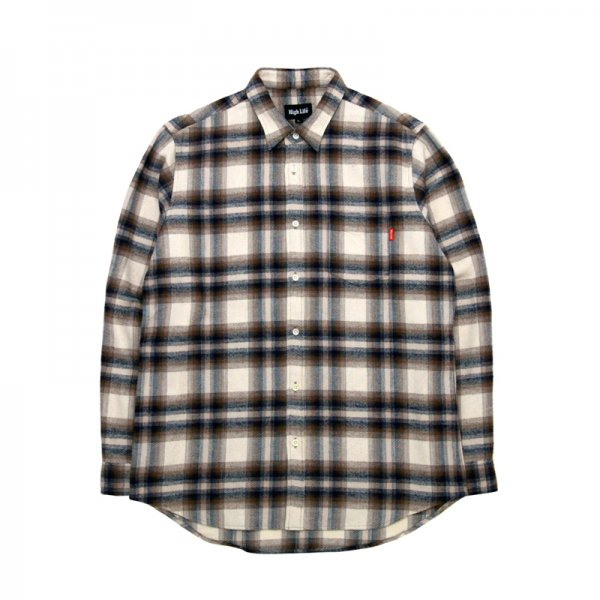 HighLife / Ombre Check Flannel Shirts - Beige -