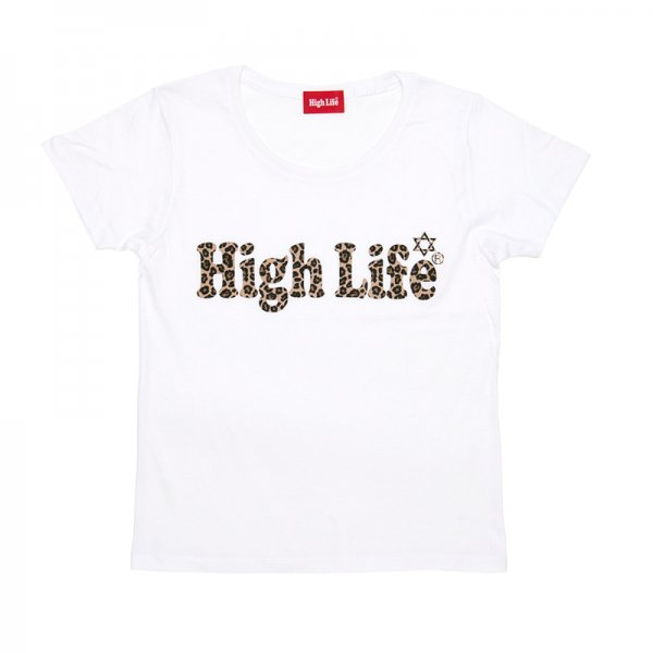 HighLife Lady's / Leopard Logo Tee - White -