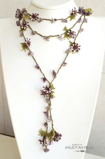 オヤネックレス 緑&紫 小花 ラリエット