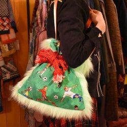 【murakado】ショルダー巾着ファーバッグ サッカー柄 pele|kinchaku fur bag [DW15-307]【レターパックプラス可】