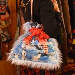 【murakado】巾着ファーバッグ 灯台柄 TOUDAIMOTOKURASHI(LBL)|kinchaku fur bag [DW15-316]【レターパックプラス可】