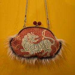 【murakado】1/2ファークラッチ チベタンタイガー Tibetan Wave|Fur 1/2|Clutch bag [DW5-306]【レターパックプラス可】