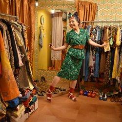 【お仕立て品】THEレトロな柄のボックススカート (セットアップ品・単品価格) S−1442【クリックポスト可】