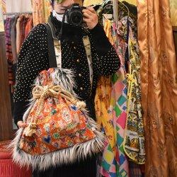 【murakado】ショルダー巾着ファーバッグ POPなメキシコ風 Gassho|shoulder kinchaku fur bag [DW19-357]【ゆうパックもしくはヤマト宅急便にて発送】