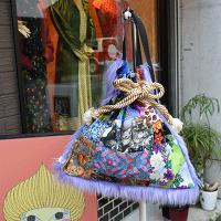 【murakado】一点もの!パッチワークショルダー巾着ファーバッグ 猫メインpatchwork shoulder cat/PR 【dw1-000】 【ゆうパックもしくはヤマト宅急便にて発送】