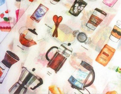 うっすら透け感 マスキングシール -コーヒー・ジュース