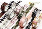 【予約】海外製マスキングテープ -チェック柄x金の箔押し 8巻セット