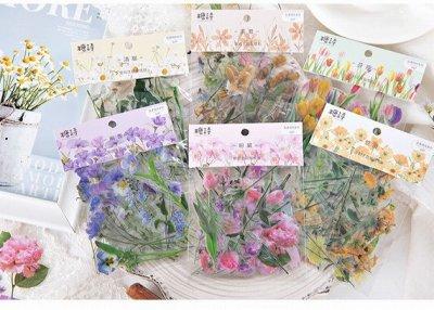 透明シール -カラフルなお花畑