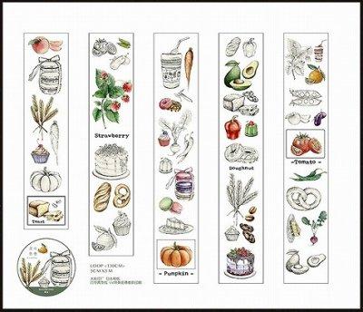 図鑑のような美しいマスキングテープ -Fruits and Vegetables