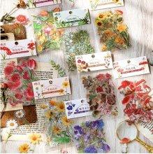 透明シール - きのこと色とりどりのお花たち