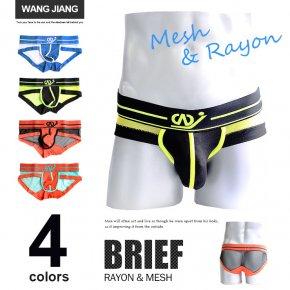 WJ [WANG JIANG] メッシュ切替デザイン ブリーフパンツ メンズ ブリーフ シースルー 035