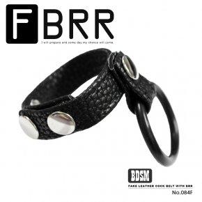 BDSM ボンテージスタイル ラバーリング付き フェイクレザー コックストラップ 084F グランスリング