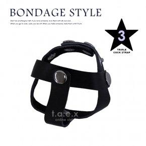 BDSM ボンテージスタイル コックリング フェイクレザー 玉割り トリプルストラップ 021 クワッドストラップ 4連