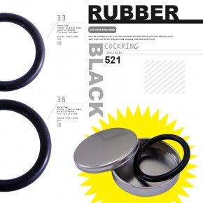 521 ブラック ラバー製 コックリング 収納ケース付き 023 ペニスリング ボールリング