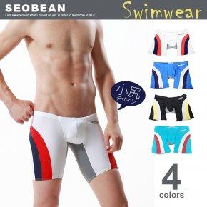 SEOBEAN セビン 競パン メンズ 水着 競泳パンツ セミロング スパッツタイプ 021