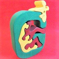 木製アルファベットパズル G  giraffe  キリン     /アルファベットパズル/木製パズル/木のおもちゃ/知育玩…