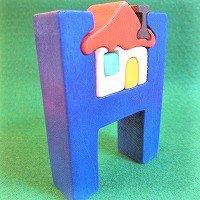 木製アルファベットパズル H   house  家      /アルファベットパズル/木製パズル/木のおもちゃ/知育玩…