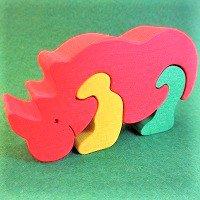 木製動物パズル サイ(さい)   /サイグッズ/アニマルパズル/木のおもちゃ/知育玩具/