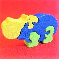 木製動物パズル カバ(かば)     /カバグッズ/アニマルパズル/木のおもちゃ/知育玩具/