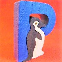 木製アルファベットパズル P     penguine  ペンギン     /アルファベットパズル/木製パズル/木のおもちゃ/知育玩…