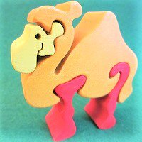 木製動物パズル ラクダ(らくだ)   /ラクダグッズ/アニマルパズル/木のおもちゃ/知育玩具/