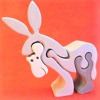 木製動物パズル ロバ(ろば)   /ロバグッズ/アニマルパズル/木のおもちゃ/知育玩具/