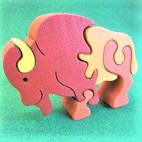 木製動物パズル バッファロー(バイソン)   /バッファローグッズ/アニマルパズル/木のおもちゃ/知育玩…