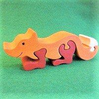 木製動物パズル キツネ茶 (狐 きつね)    /キツネグッズ/アニマルパズル/木のおもちゃ/知育玩具/