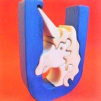 木製アルファベットパズル U  unicorn   ユニコーン 一角獣      /アルファベットパズル/木製パズル/木のおもちゃ/知育玩…