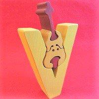 木製アルファベットパズル V  violin     バイオリン      /アルファベットパズル/木製パズル/木のおもちゃ/知育玩…