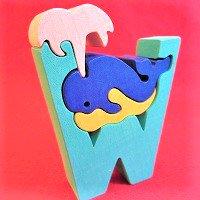 木製アルファベットパズル W  whale    クジラ くじら      /アルファベットパズル/木製パズル/木のおもちゃ/知育玩…