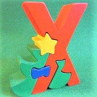木製アルファベットパズル X  x-mas     クリスマス       /アルファベットパズル/木製パズル/木のおもちゃ/知育玩…