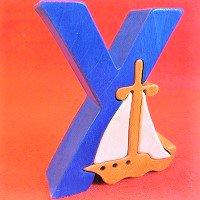 木製アルファベットパズル Y  yacht     ヨット      /アルファベットパズル/木製パズル/木のおもちゃ/知育玩…