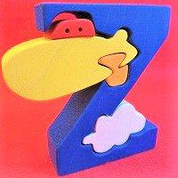 木製アルファベットパズル Z  zeppelin    飛行船     /アルファベットパズル/木製パズル/木のおもちゃ/知育玩…