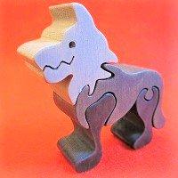 木製動物パズル オオカミ(狼 おおかみ)   /オオカミグッズ/アニマルパズル/木のおもちゃ/知育玩具/