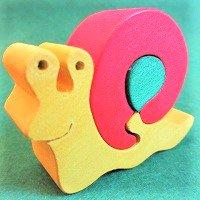 木製動物パズル カタツムリ(かたつむり)  /カタツムリグッズ/アニマルパズル/木のおもちゃ/知育玩具/