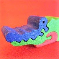 木製動物パズル ワニ(わに)   /ワニグッズ/アニマルパズル/木のおもちゃ/知育玩具/