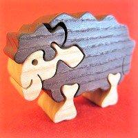 木製動物パズル ヒツジ茶 (羊 ひつじ))   /ヒツジグッズ/アニマルパズル/木のおもちゃ/知育玩具/